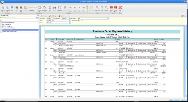 Purchase Order Payment History Report
