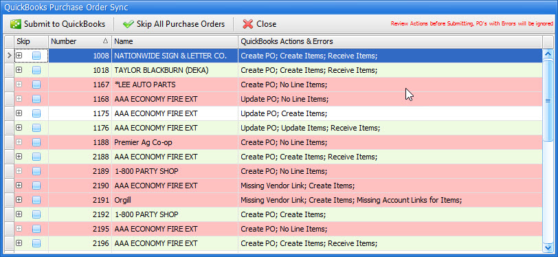 QuickBooks Purchase Order Sync