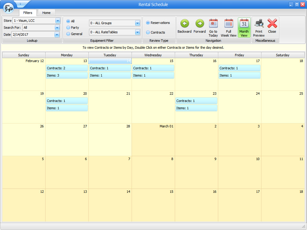 Calendar Monthly Rent : Rental schedule focalpoint software